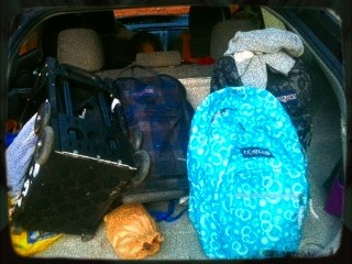 Still life with backpacks