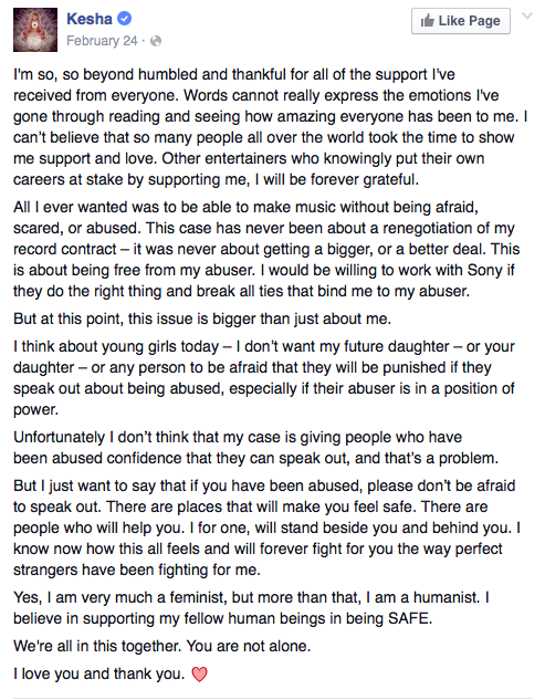 kesha on rape facebook